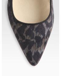 Stella McCartney - Gray Leopard-print Faux Suede Ballet Flats - Lyst