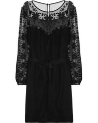 Alice By Temperley | Black Vanessa Embroidered Tulle and Silk Crepe Dress | Lyst