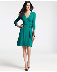 bc720c781ca Lyst - Ann Taylor Tall 3 4 Sleeve Jersey Wrap Dress in Green