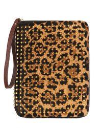 Christian Louboutin   Gold Cris Leopard Print Ponyskin Ipad Case   Lyst