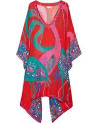Emamó | Red Lux Flamingo-print Silk-chiffon Kaftan | Lyst