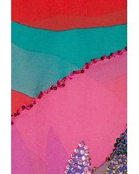 Emamó - Red Lux Flamingo-print Silk-chiffon Kaftan - Lyst