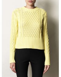 Acne | Yellow Lia Cable Knit Pullover | Lyst