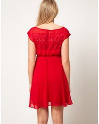 ASOS Red Lace Insert Skater Dress