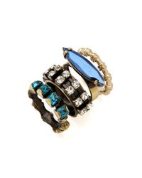 Iosselliani - Blue Set Of 4 Stacking Rings - Lyst