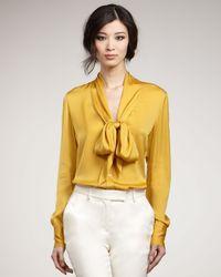Rachel Zoe | Yellow Natalie Plunge Tie Collar Blouse | Lyst