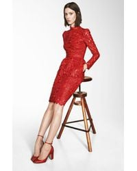 Valentino | Red Laser Cut Leather Dress | Lyst