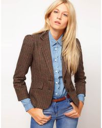 ASOS Collection | Brown Asos Blazer in Heritage Check with Elbow Patches | Lyst