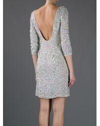 Blumarine | Gray Gem Embellished Silk Dress | Lyst