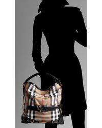 Burberry - Black Medium Check Belted Hobo - Lyst