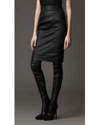 Burberry   Black Leather Pencil Skirt   Lyst