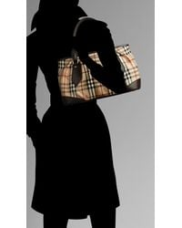 Burberry - Brown Large Haymarket Check Tote - Lyst