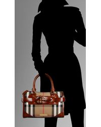 Burberry | Brown Medium Check Belted Bowling Bag | Lyst