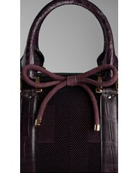 Burberry - Purple The Barrel in Check Jacquard with Alligator Trim - Lyst