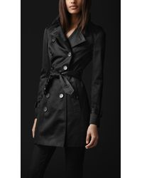 Burberry Prorsum | Black Slim Sateen Trench Coat | Lyst