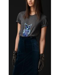 Burberry Prorsum | Gray Beaded Owl Tshirt | Lyst