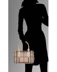 Burberry | Natural Small Smoked Check Bowling Bag | Lyst