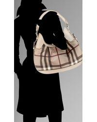 Burberry | Gray Small Smoked Check Hobo Bag | Lyst