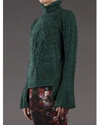 Alexander McQueen | Green Chunky Cable Sweater | Lyst