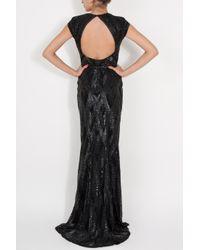 Elie Saab | Black Cap Sleeve Beaded Gown | Lyst