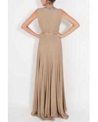 Elie Saab - Natural Embellish Collar Georgette Gown - Lyst