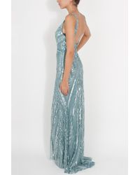Elie Saab | Blue Strappy Full Beaded Gown | Lyst