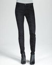 J Brand | Green 811 Skinny Flocked Jeans | Lyst