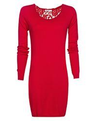 Mango - Mango Lace Back Dress Red - Lyst