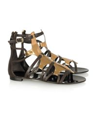 Roberto Cavalli | Metallic Patent-leather Gladiator Sandals | Lyst