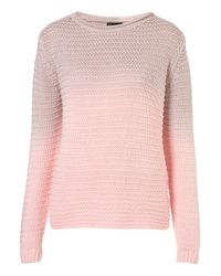 TOPSHOP - Pink Knitted Dip Dye Chunky Jumper - Lyst