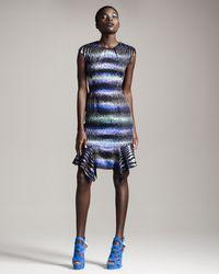 Peter Pilotto   Multicolor Striped Handkerchiefhem Dress   Lyst