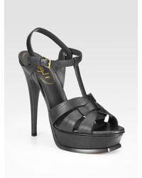 Saint Laurent   Black Tstrap Lizard Embossed Leather Sandals   Lyst
