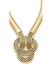 Kenneth Jay Lane | Metallic Enamel Knot Necklace | Lyst