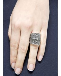 Mango - Metallic Touch Crystal Embellished Ring - Lyst