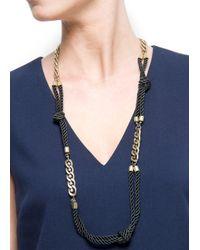 Mango | Metallic Chains Navy Necklace | Lyst