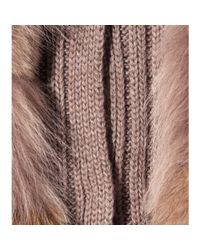 Miu Miu | Brown Ribbed Knit Cardigan with Furtrimmed Overlay | Lyst