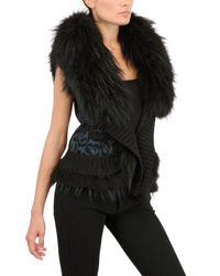 Roberto Cavalli | Black Marmot Fur Wool Cashmere Knit Vest | Lyst