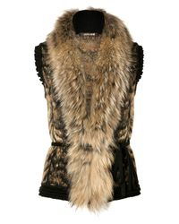 Roberto Cavalli | Brown Bronzewhite Fur and Knit Combo Vest | Lyst