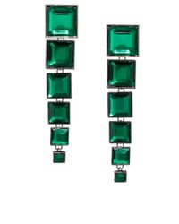 ASOS | Green Articulated Gem Square Drop Earrings | Lyst