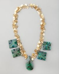 Devon Leigh - Blue Chrysocolla Coin Necklace - Lyst