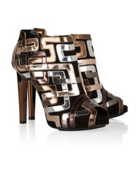 Pierre Hardy | Metallic Mirrored Leather-Trimmed Suede Ankle Boots | Lyst