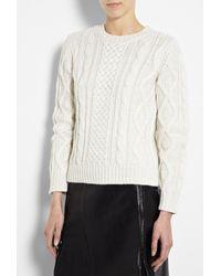 A.P.C. | White Aran Knit Jumper | Lyst