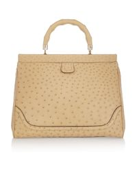 Gucci | Beige Ostrichleather Tote | Lyst