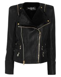 Balmain   Black Shearling Biker Jacket   Lyst