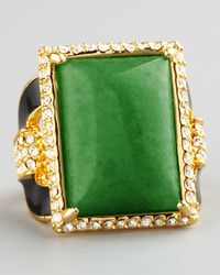 Rachel Zoe - Green Square Ring  - Lyst