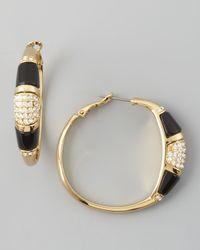 Rachel Zoe - Black Paveresin Hoop Earrings  - Lyst