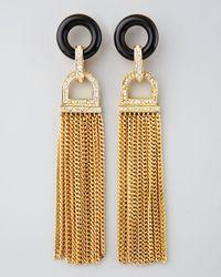Rachel Zoe | Metallic Rhinestone Tassel Earrings | Lyst