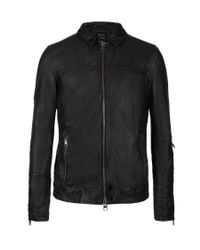 AllSaints   Black Tricky Leather Bomber Jacket for Men   Lyst