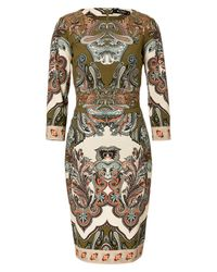 Etro | Green Peony Matelasse Sheath Dress | Lyst