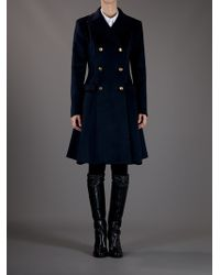 Issa | Blue Fitted Long Coat | Lyst